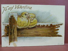 Old Postcard  Valentine Artist Signed  Fred Lounsbury Two Birds on a Fence