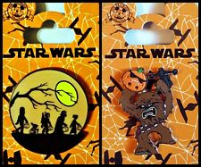 Disney Parks 2 Pin Lot STAR WARS HALLOWEEN glow dark Trick or Treat + Chewbacca