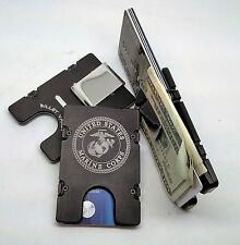 U.S. Marine Corp, Aluminum Wallet/Credit Card Holder, RFID Protection, Black