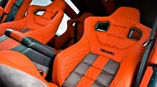 5x RECARO LEATHER SEAT HEADREST DECALS LOGO Vinyl Stickers Graphics TRACK CAR VW