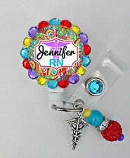 DELUXE MEDICAL ID REEL BLING BADGE HOLDER with charm Nurse, RN,LPN,CNA,ETC