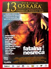 CRASH 2004 SANDRA BULLOCK MATT DILLON BRANDAN FRASER UNIQUE SERBIAN MOVIE POSTER