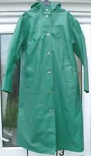 Vintage Green Rukka Hooded Raincoat Trench Mac Coat 36 PVC Cotton Finland Retro
