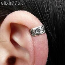 SILVER PLATED WAVE CARTILAGE HELIX EAR CUFF CLIP-ON WRAP EMO GOTHIC PUNK EARRING