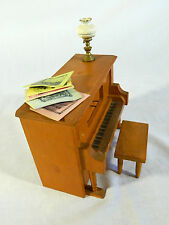 """Toy Piano Wood Music Box with Lamp and Music Sheets & Bench/4"""" x5""""/works"""