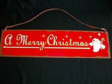 """Merry Christmas Metal Red 19.5"""" Sign Santa Leather Hanger Tin Plaque Country Art"""