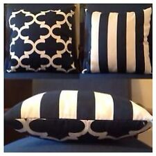45x45cm Premier Prints Indoor/Outdoor Navy/White Moroccan/Stripe Cushion Cover