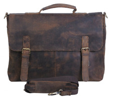 Vintage Buffalo Leather Messenger Satchel Laptop Briefcase Men's Bag Crazy Vinta