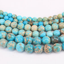 "16"" Natural Sea Sediment Jasper Gemstone Round Loose Spacer Beads 4/6/8/10mm"