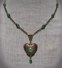 BRASS FILIGREE HEART LOCKET EMERALD GREEN GLASS FIRE OPAL NECKLACE VICTORIAN