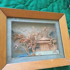"VTG CHINESE CARVED CORK MINATURE DIORAMA PAGODA 3D FRAMED PICTURE 7"" X 5 1/2"""