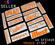 ILLEST FATLACE STANCEWORKS JDM SET 8 INCH 15 ORANGE STICKERS DECAL DAPPER