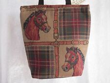 Artisan Treasures Handcrafted Equestrian Horse Head Plaid  Kooler Bag NEW