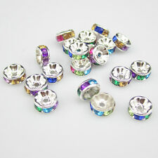 NEW for jewelry  100pcs size 8MM Plated silver crystal spacer beads colors Mix