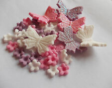 Edible Icing Blossom Flowers Glitter Butterfly Birthday Cake Cup Cake Toppers
