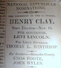 1832 newspaper w HENRY CLAY for PRESIDENT - display ad for election of 1832
