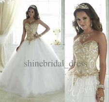 New Princess Gold Lace Quinceanera Dresses School Formal Prom Wedding Ball Gown