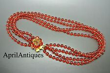 Vintage Miriam Haskell red flower poured glasses patels necklace choker