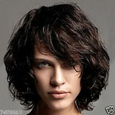 100% Real Hair!Stylish Black Brown Bouffant Curly Short Women's Wig Human Hair