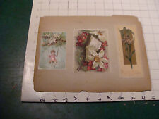 vintage early SCRAPE BOOK PAGE double sided - 4 cards flowers christmas