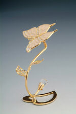 "SWAROVSKI CRYSTAL ELEMENTS ""Butterfly"" FIGURINE - ORNAMENT 24KT GOLD PLATED"