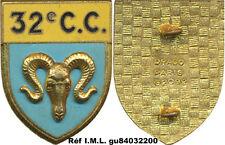 32° Groupement de Camp,sigle C.C. bélier, émail, 2 anneaux,Drago 2092(7029)