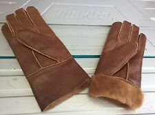 brown ladies women 100% genuine real leather sheepskin gloves mittens winter