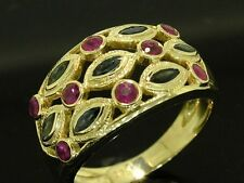 R177 STUNNING Genuine 9ct SOLID Gold NATURAL Sapphire Ruby Wide BAND Ring size N