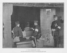 Russo japanese war giapponese campo TELEGRAFO CORPS-ANTICA FOTO STAMPA 1904