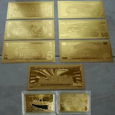 SET DI BANCONOTE D'ORO $ DOLLARI E LINGOTTO RICORDO DEL TITANIC 1912 IN 24K GOLD