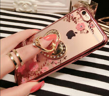 Luxury Bling Diamond Flower Garden Ring Holder Stand Soft Clear Phone Case Cover