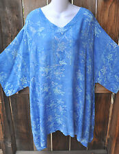 """ART TO WEAR 210 LAGENLOOK TUNIC IN NEW CORNFLOWER BY MISSION CANYON, 56""""B, OS+!"""