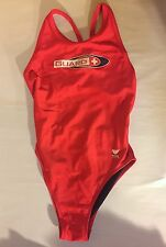 TYR Lifeguard Guard Swimsuit Red Navy Size 34 Antron Nylon Lycra Spandex costume