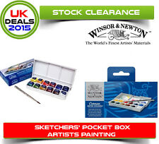 Winsor & Newton Cotman Sketchers Pocket Box Watercolour Paint 12 Half Pans plus