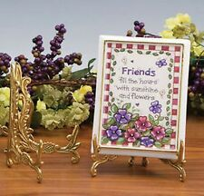 "Brass Easel, Plate or Book Stand, Floral Design, 5"" height"