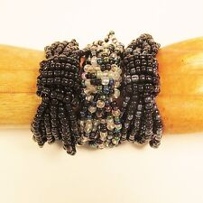 Set of 3 Black & Black Multi Handmade Beaded Stretch Seed Bead Bracelets