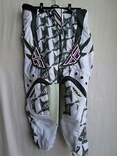 "Fly Racing KINETIC WOMENS LADIES motocross pants sz 11/12 or 38"" wht/gry NEW"