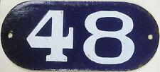 Azul Muy Antiguo Francés Número De Casa Puerta 48 Puertas Placa Esmalte Acero Metal Sign