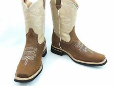 MEN'S RODEO COWBOY BOOTS GENUINE LEATHER WESTERN SQUARE TOE BOTAS