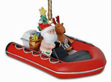 Santa and Reindeer Cruising in Rubber Raft Boat Christmas Holiday Ornament