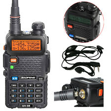 2pcs Walkie Talkie UHF/VHF BAOFENG UV-5R LCD Two Way Radio Earpiece UK Charger