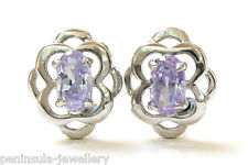 Sterling Silver Celtic style Lilac CZ Studs Earrings Gift Boxed Made in UK