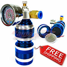 Air Intake TURBO CHARGER COMPRESSOR Accelerator Fuel and Gas Saver Gauge BLUE