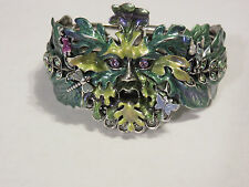 KIRKS FOLLY ENCHANTED GREEN FOREST MAN HINGE CUFF BRACELET