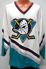 vtg ANAHEIM MIGHTY DUCKS Starter Heavy Cotton JERSEY L 90s nhl shirt rare white
