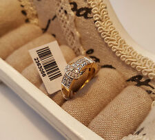 Stunning Diamond Buckle Ring in 14k Gold over Sterling Silver size 'O'