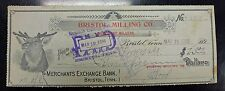 {BJ STAMPS} 1896 Bristol Milling Co.  Bank check  Bristol TN  Elk Vignette