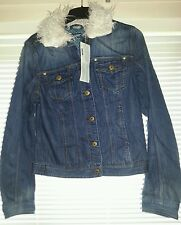 La Redoute Creation Active Wear Stone Wash Denim Jacket with White Collar UK 16