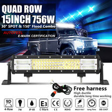 9D+ 15Inch 756W CREE Led Spot Flood Combo Work Quad Rows Light Bar VS 3-ROWs 16""