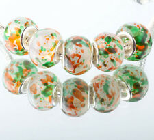 5pcs SILVER MURANO GLASS BEAD LAMPWORK fit European Charm Bracelet DIY WW333